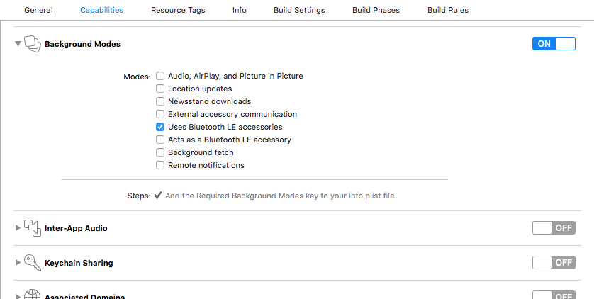 Xcode Capability Section