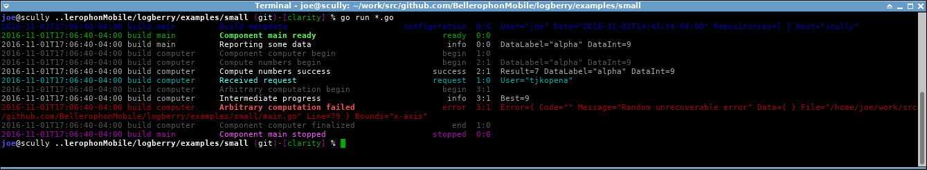 Colored Logberry terminal output.