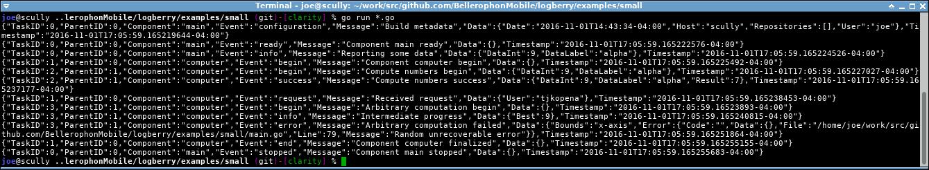 JSON Logberry terminal output.
