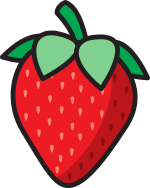 A strawberry, the Logberry logo.