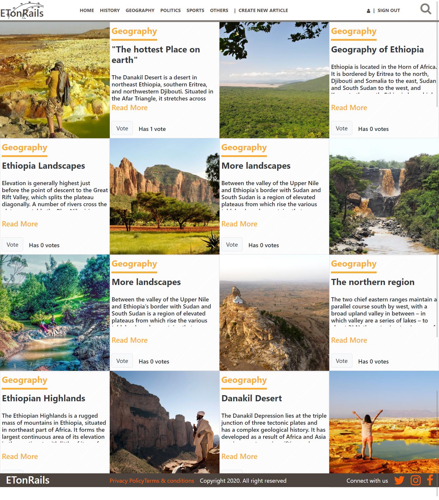 Ethiopia on Rails, Articles Web App About Ethiopia - 埃塞俄比亚铁路,文章关于埃塞俄比亚的网页应用程序