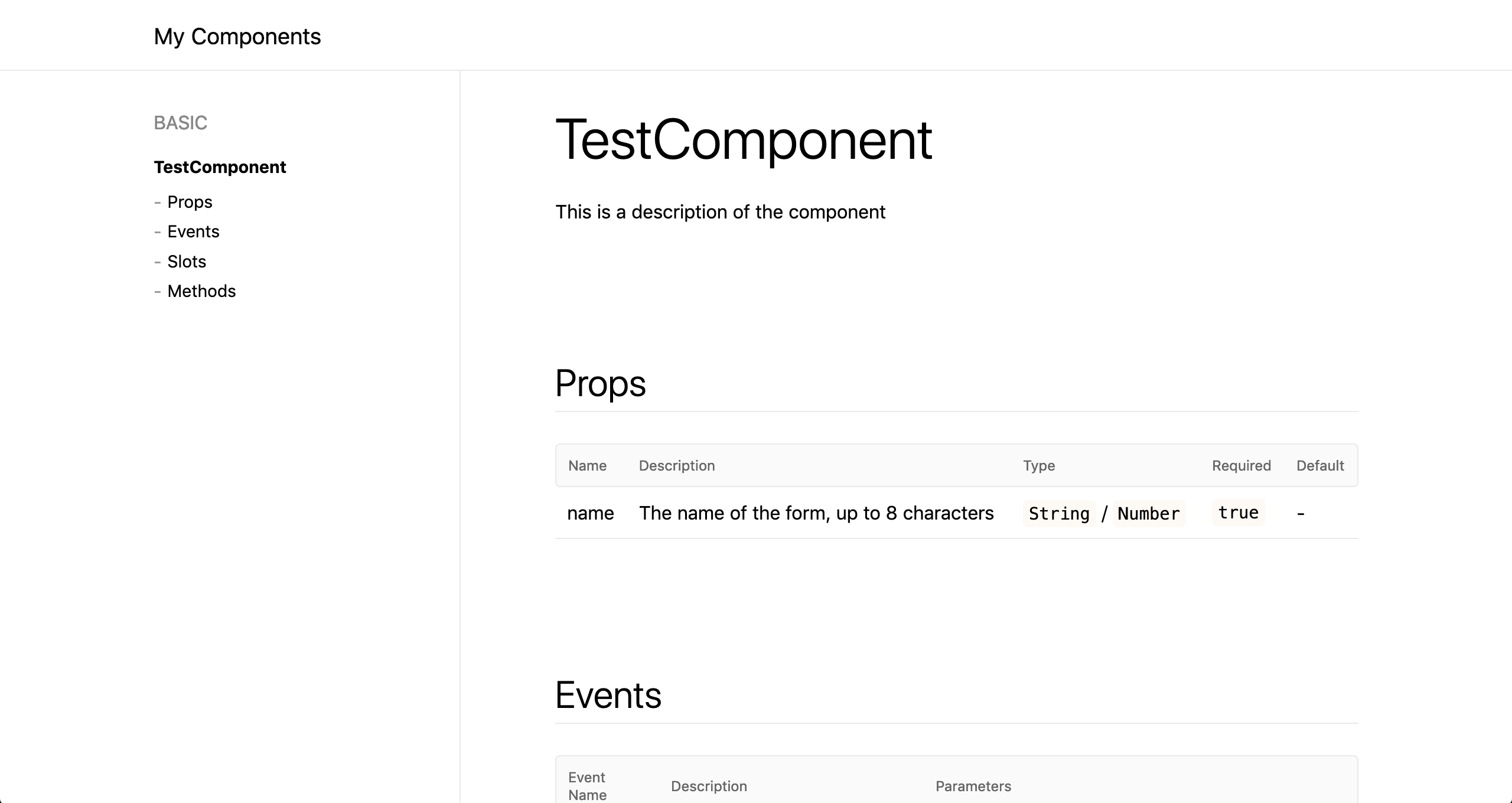 Quick & easy documentation generation for Vue js components
