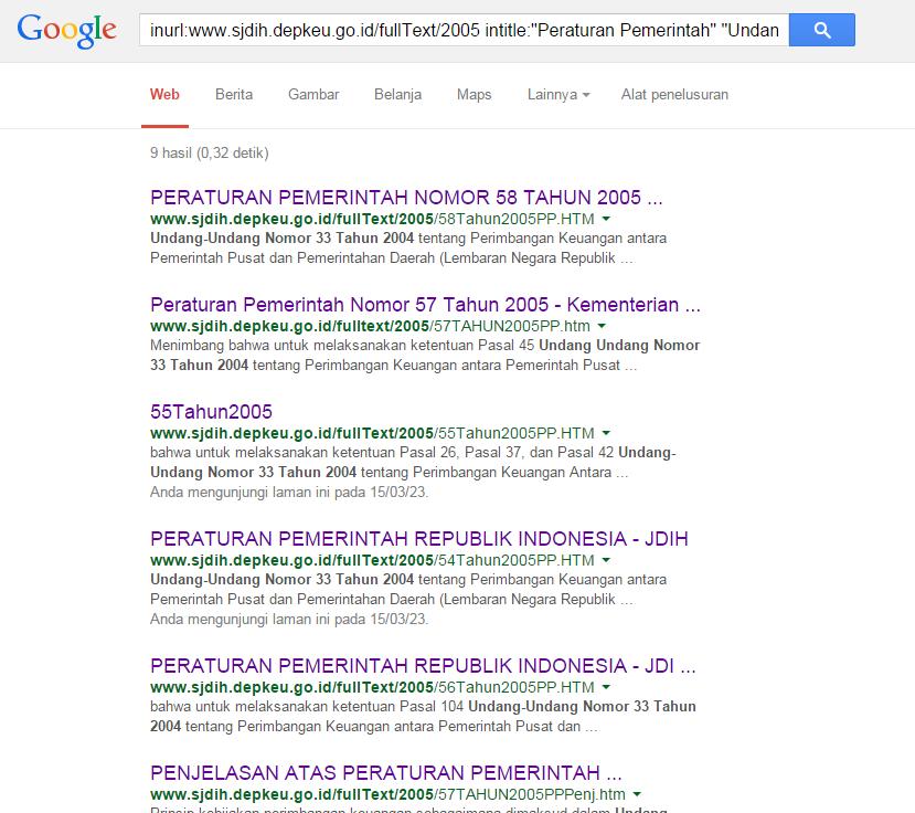 cara mencari peraturan dari google