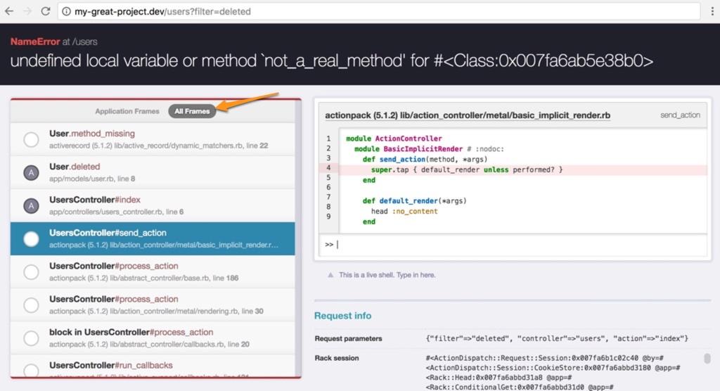 backtrace frames outside of application code
