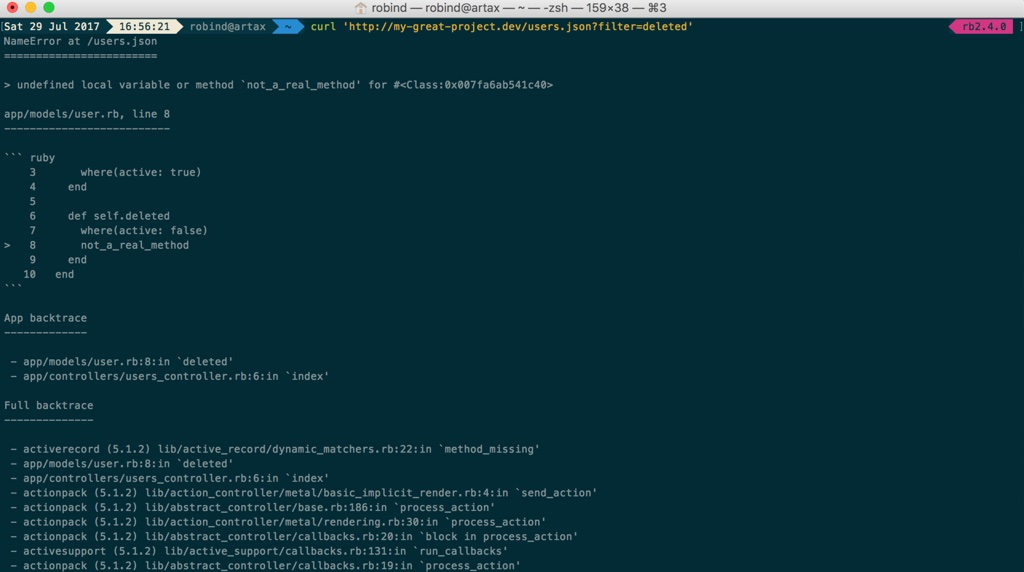 text stacktrace in response to curl