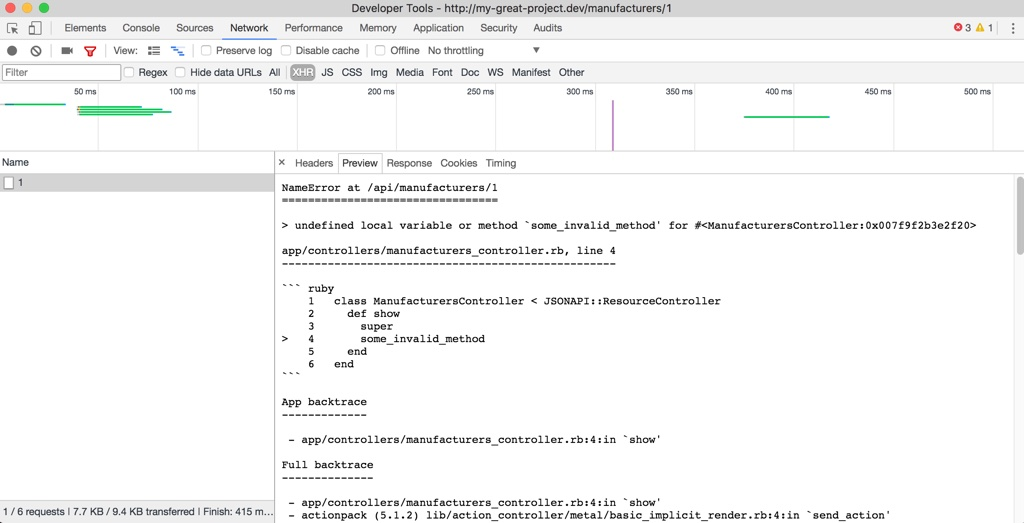 text stacktrace in Chrome network inspector