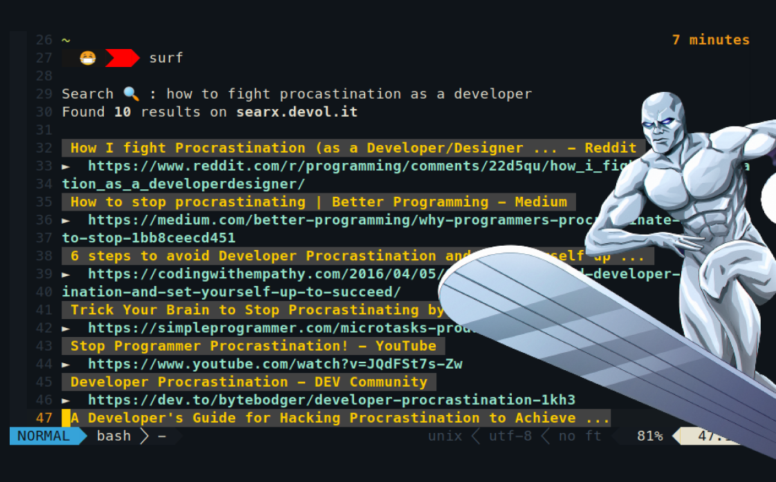 Surfing web inside a terminal, because why not?