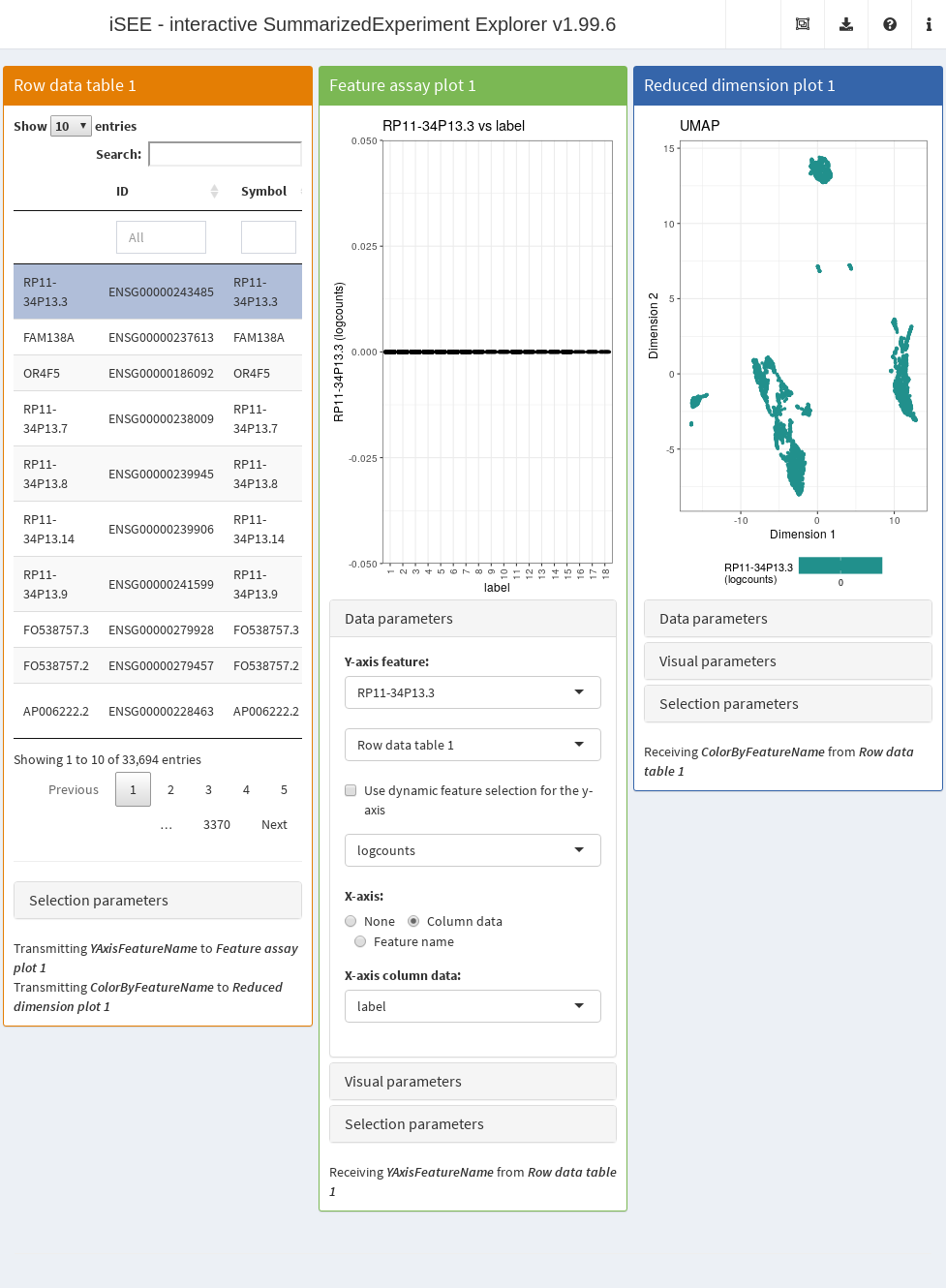 Screenshot of the _iSEE_ application initialized for interactive exploration of population-specific marker expression.