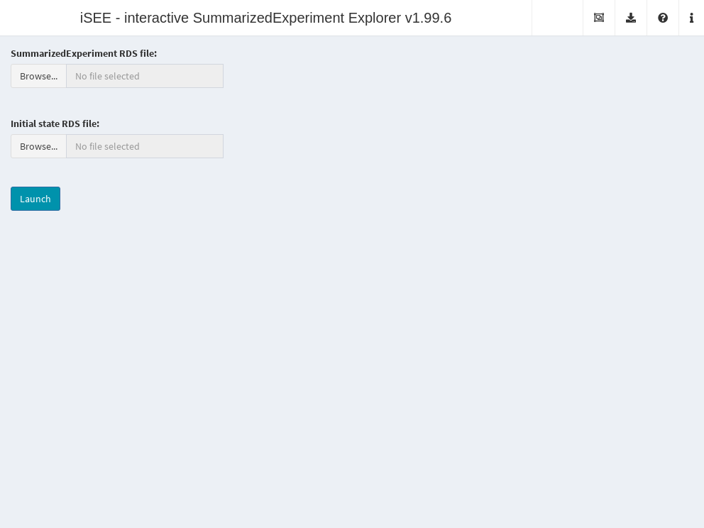 Screenshot of the _iSEE_ application with a landing page.