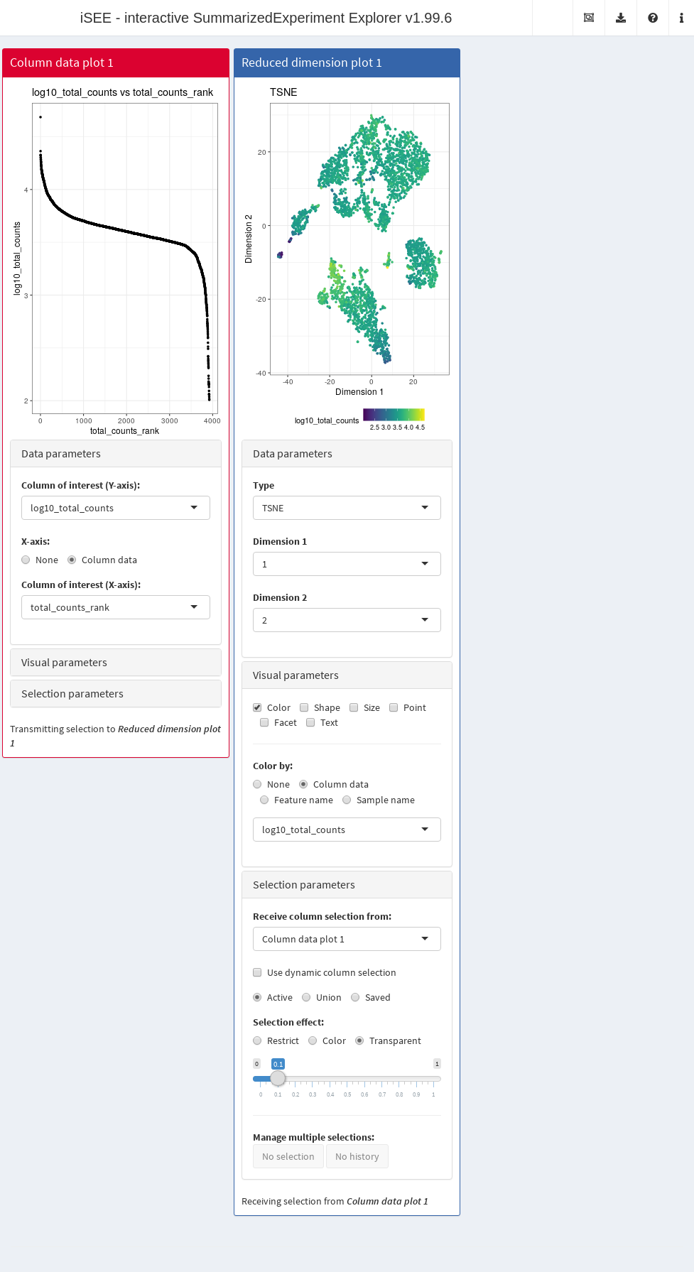 Screenshot of an _iSEE_ application for interactive exploration of quality control metrics.
