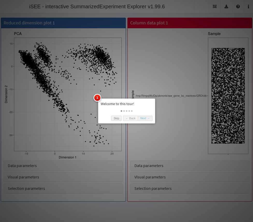 Screenshot of the _iSEE_ application initialized with a tour.
