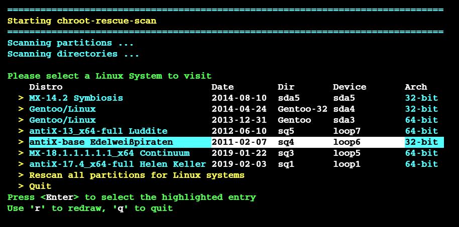 chroot-recue-scan screenshot 1