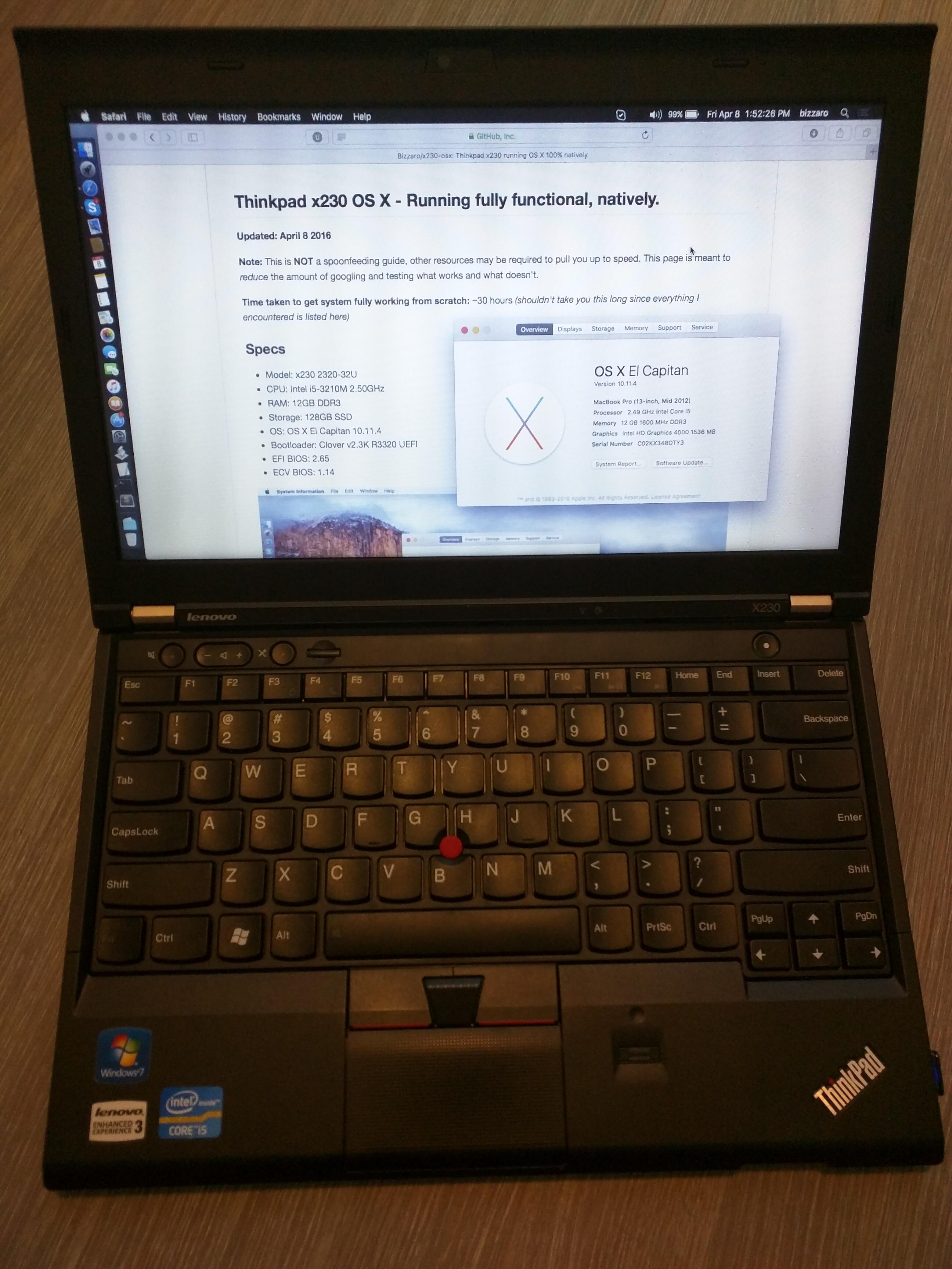 GitHub - Bizzaro/x230-osx: Thinkpad x230 running OS X 100