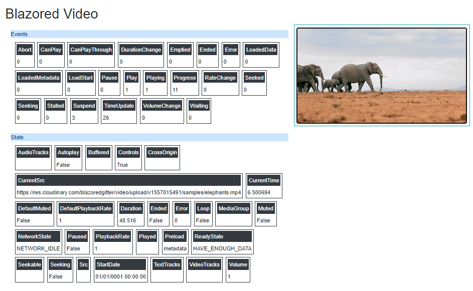 Screenshot of the component in action