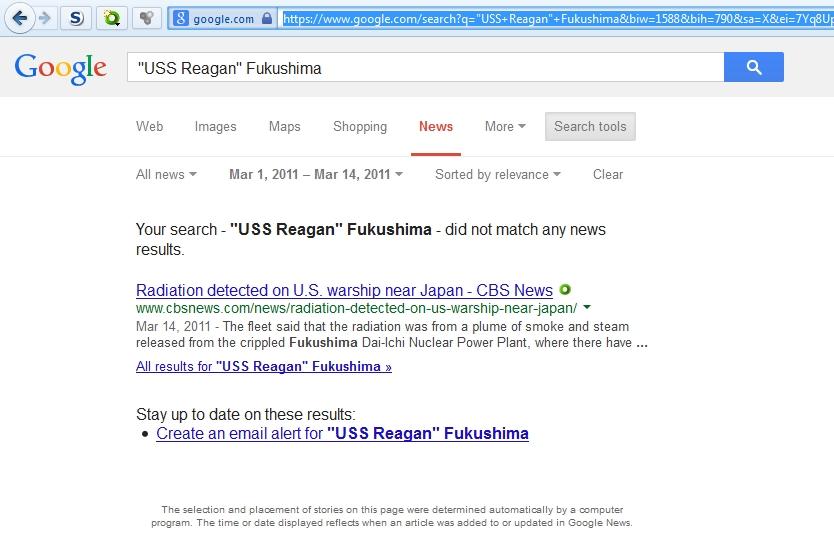 USS Reagan Fulushima breaking news