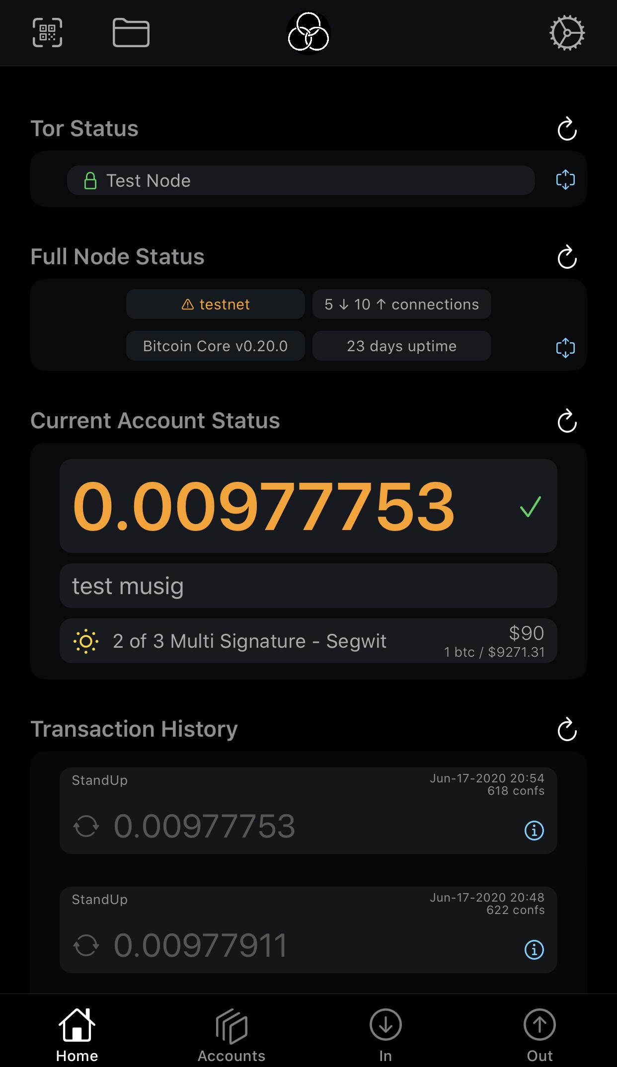 Gordian Wallet app Home Screen