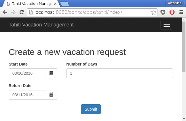 New Vacation Request process - Vacation request creation form
