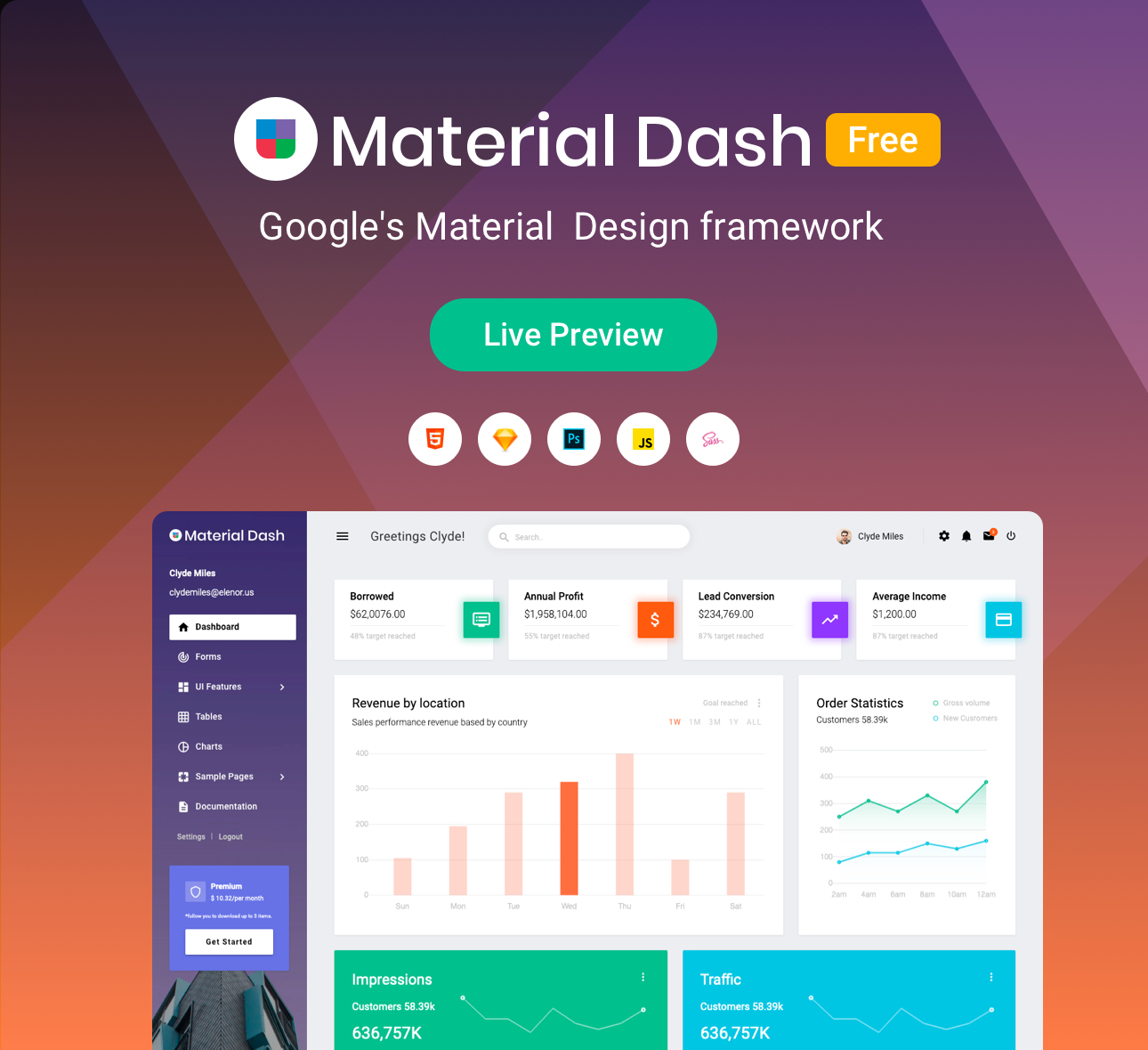 Material Admin Dashboard - The source code published on Github.