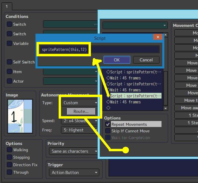 MZ / MV - Aproveitar os 12 quadros de um sprite Example