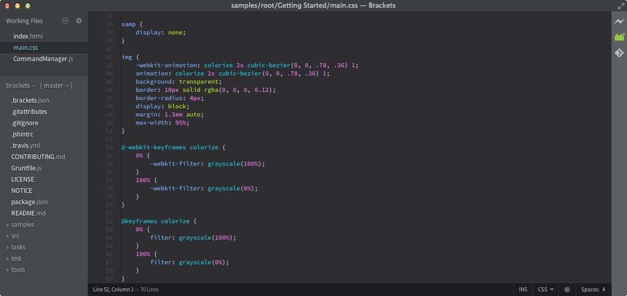 Brackets Haxe screenshot