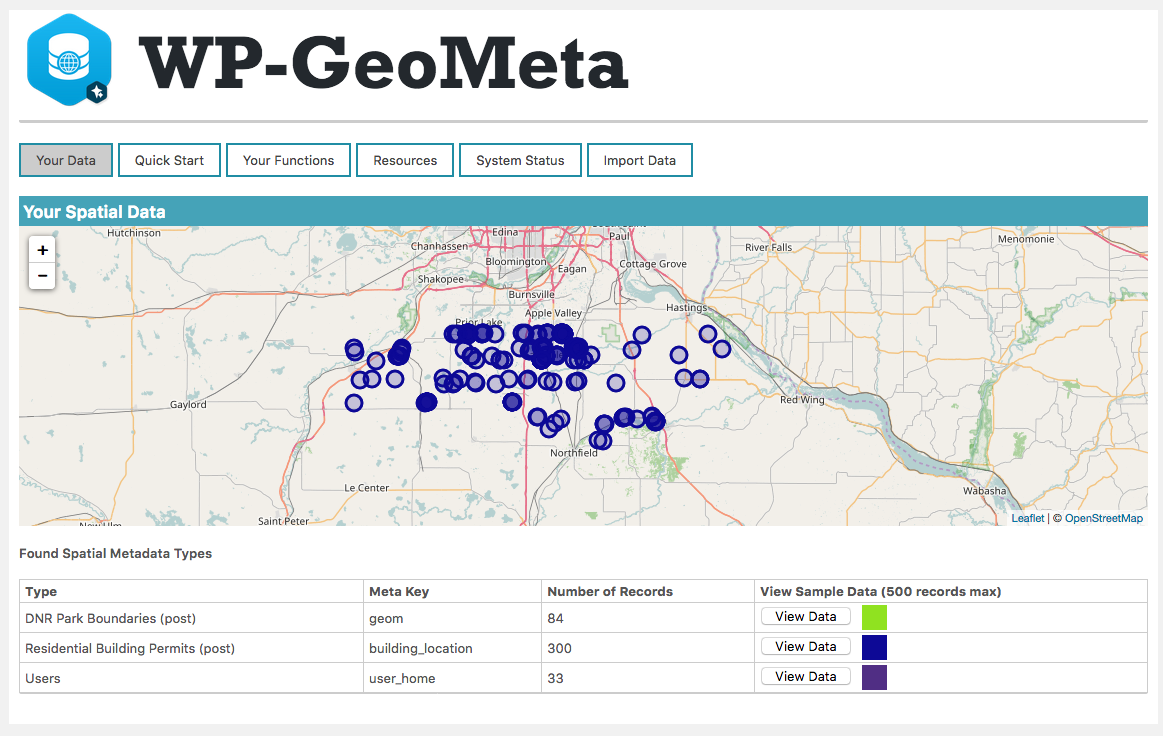 WP-GeoMeta gives you a single place to see what spatial data you have.
