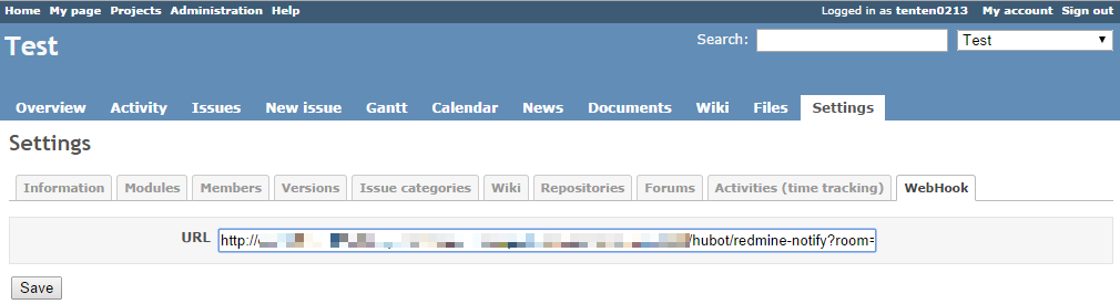 webhook settings of redmine screenshot