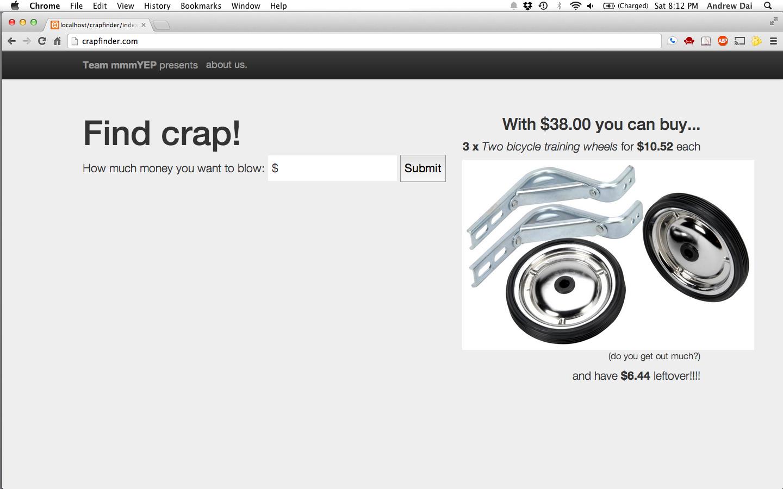 Screenshot of crapfinder
