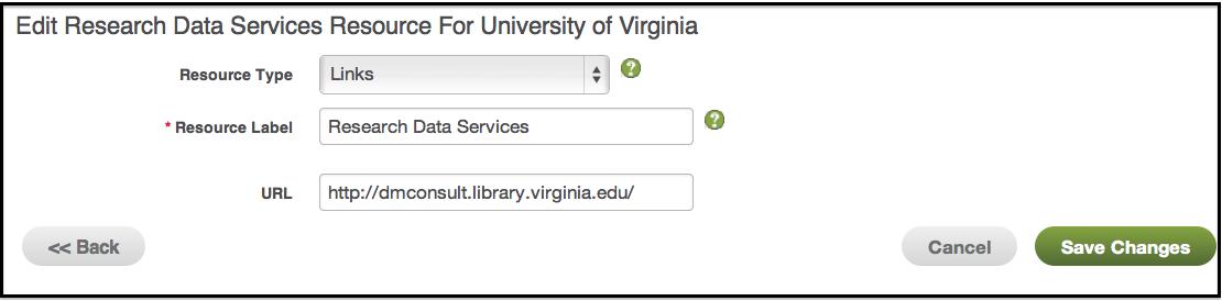 Edit Institution-Level Resource