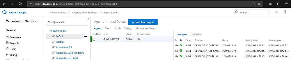 Azure DevOps Self-hosted agent screenshot