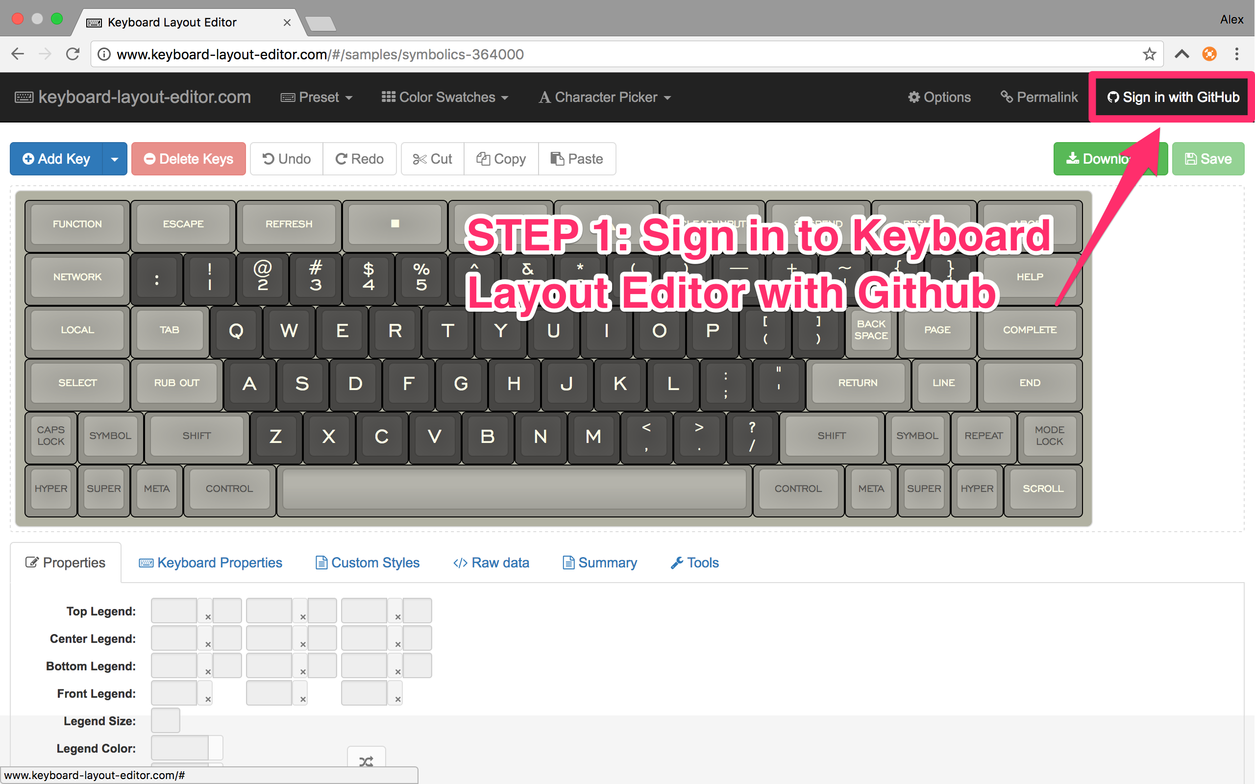 Step 1: Sign in to Keyboard Layout Editor with Github