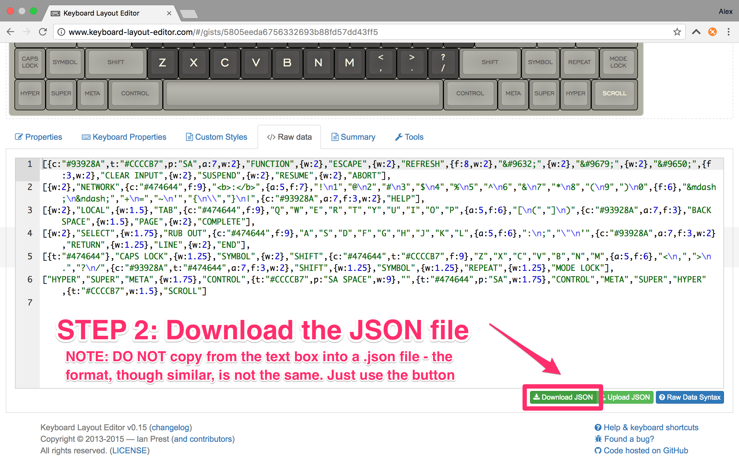 Step 2: Download the JSON file