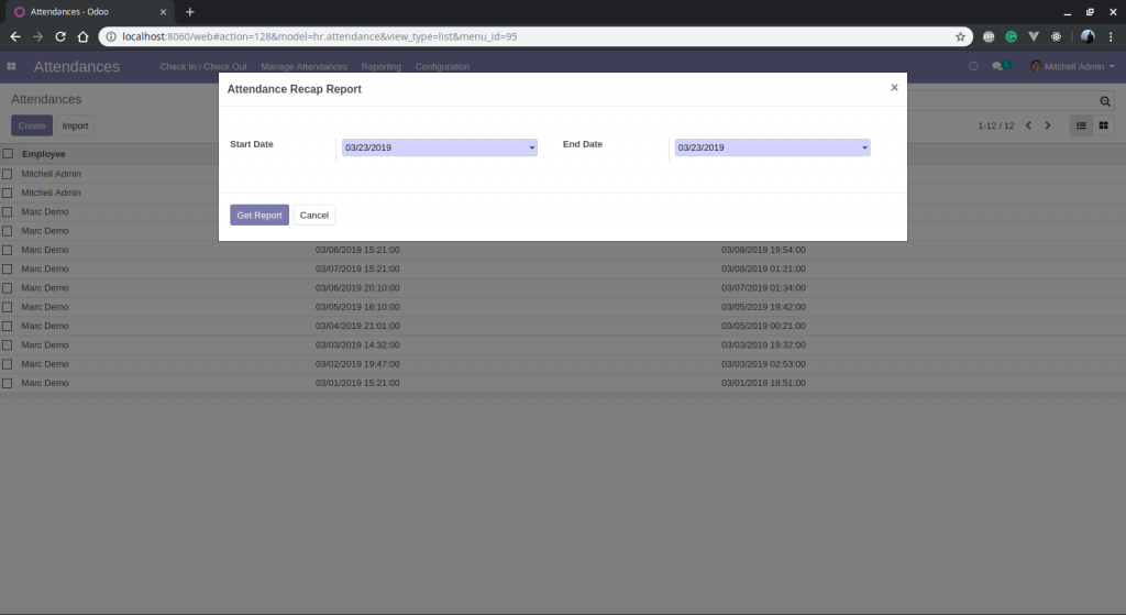 Wizard View Custom Report Odoo 12