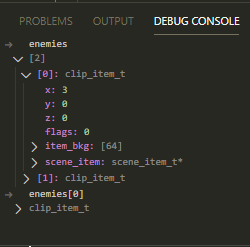 C Inspection of C Types in Debug Console