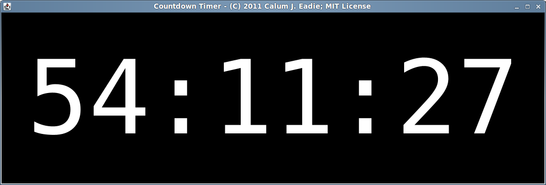 Screenshot of windowed coundown timer