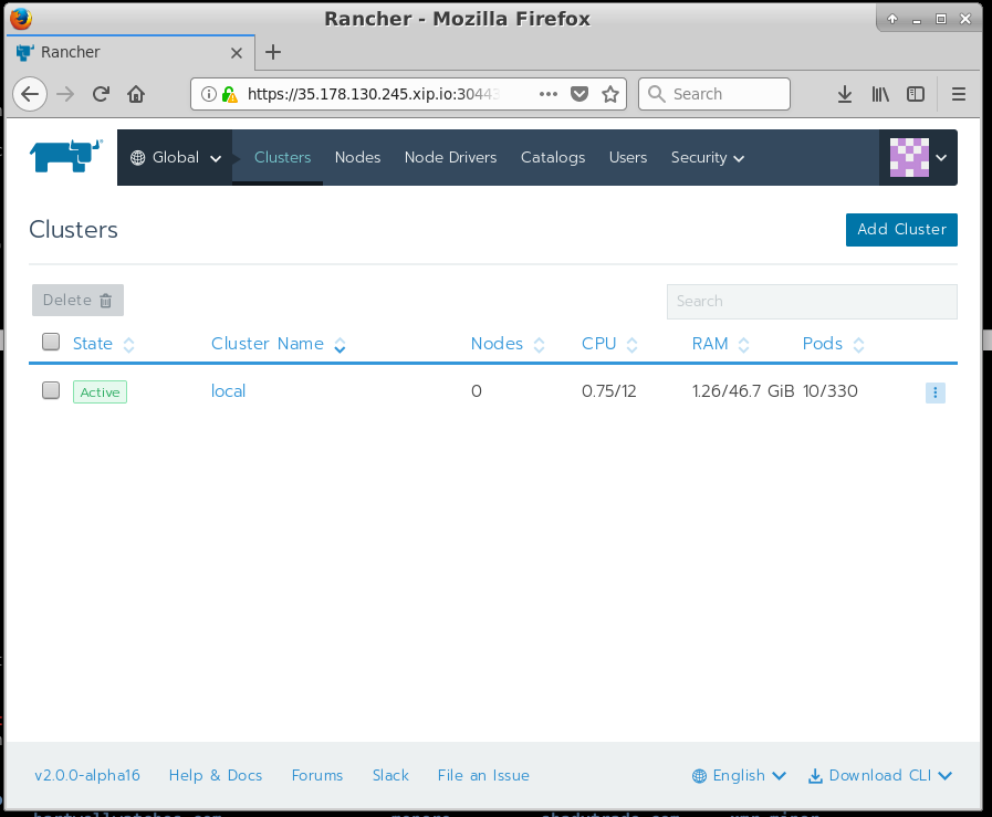 rancher gui page