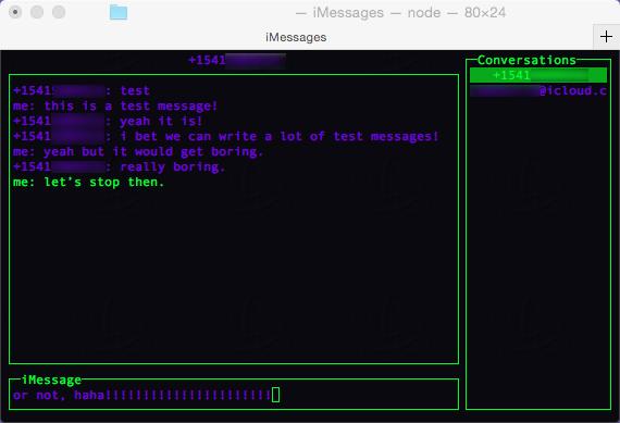 iMessage client screenshot