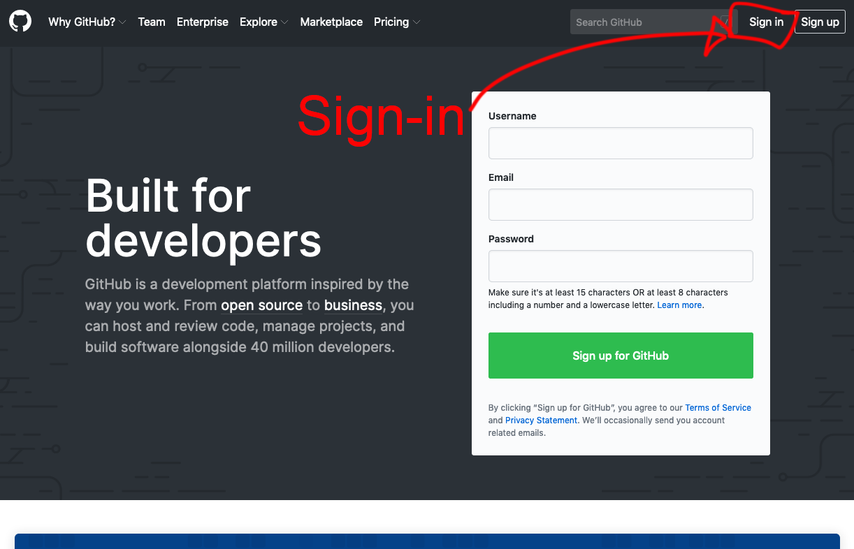 Screengrab showing where to sign back in to GitHub