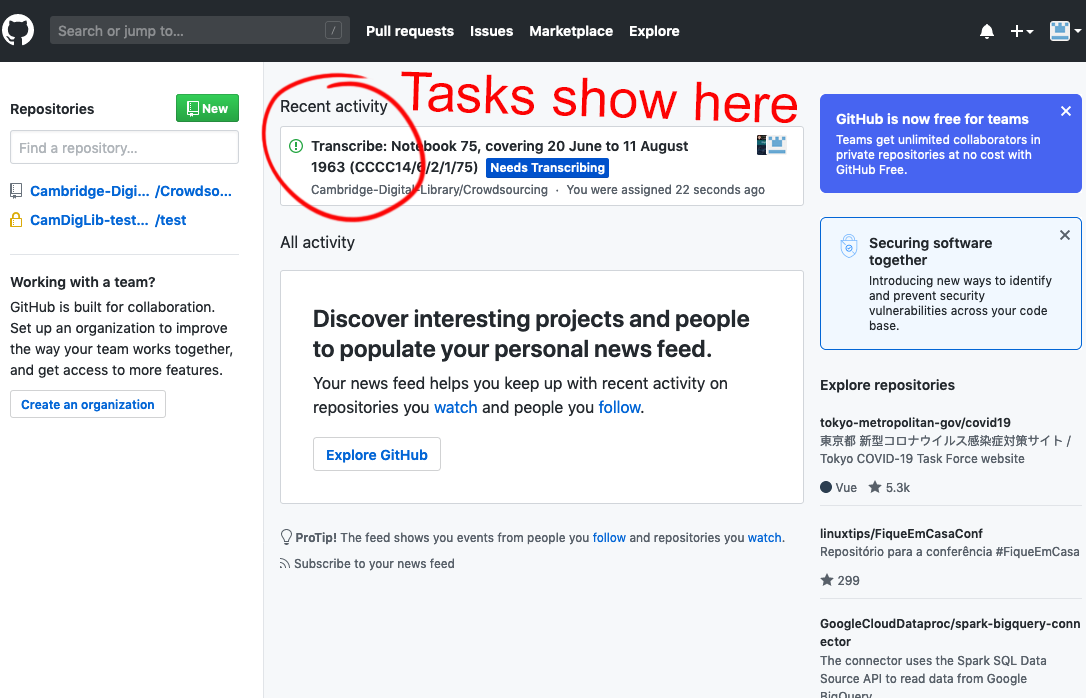 Screengrab showing your task list when you log back in to GitHub