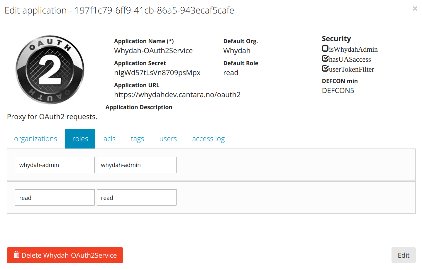 Whydah UserAdmin Configuration Example