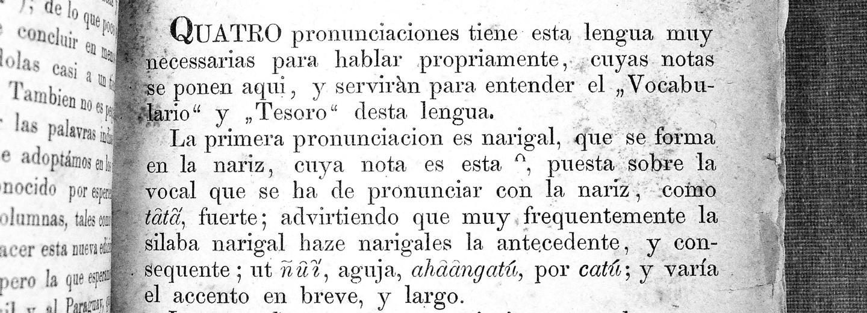 Página del Preludio del libro «Arte», unos de los libros del «Tesoro de la lengua Guaraní» de Antonio Ruiz de Montoya reeditado sin alteración alguna por B.G. Teubner, 1876.