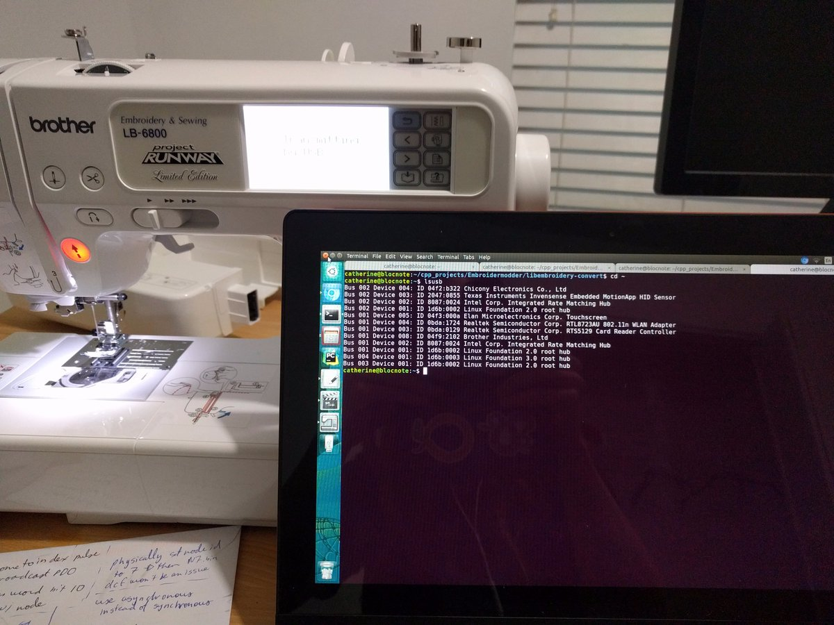 my ubuntu ultrabook and my brother sewing machine