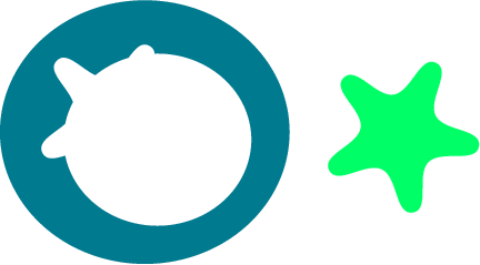 svg rendering of a green star cut out of a blue ring correctly