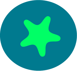 svg rendering of a green star on a blue circle