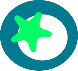 svg rendering of a green star on a blue ring