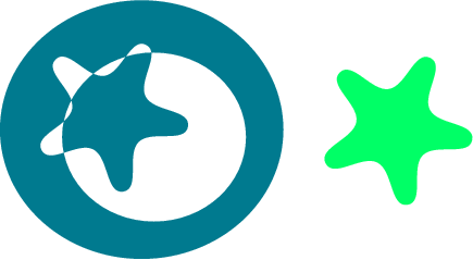 svg rendering of a green star cut out of a blue ring incorrectly