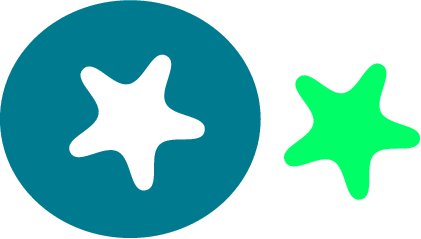 svg rendering of a green star cut out of a blue circle