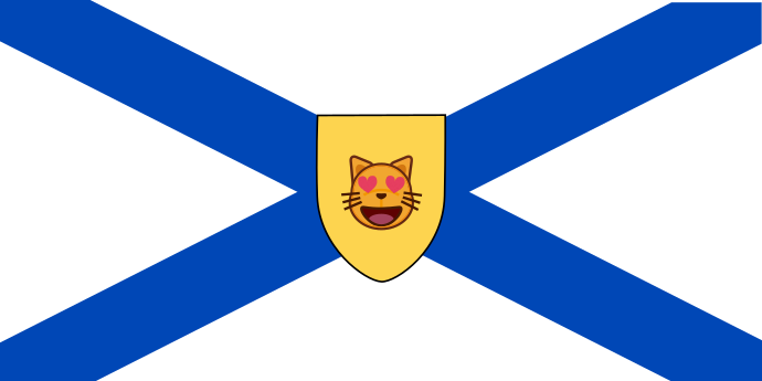 the flag of Nova Scotia with an emoji cat face