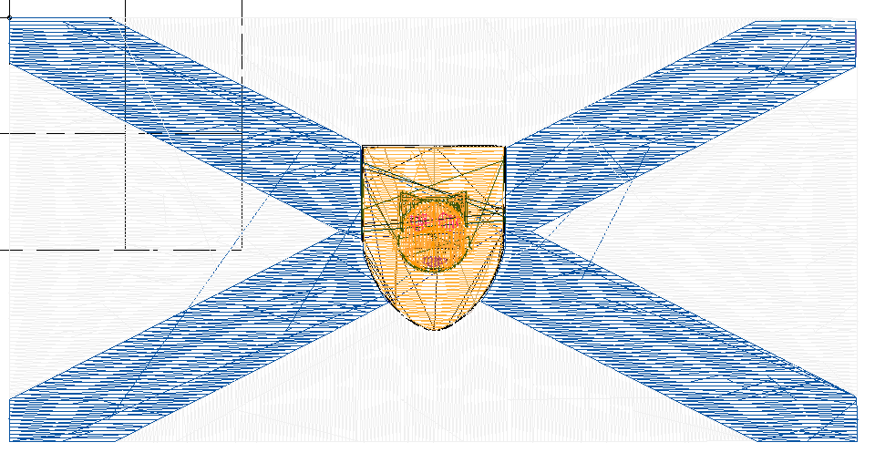 the flag of Nova Scotia with an emoji cat face, as a series of stitches
