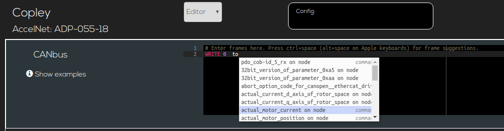 screenshot of editor command hinting