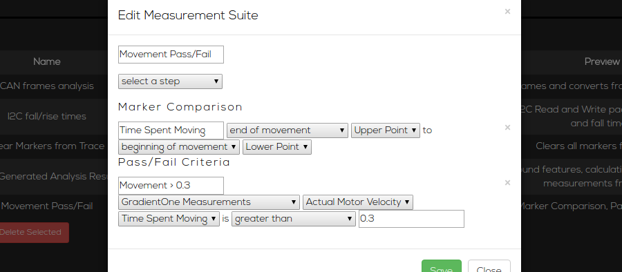 screenshot of pass/fail criteria editor